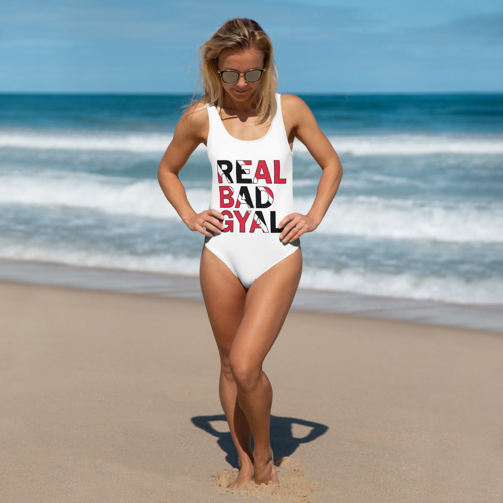 REAL BAD GYAL TRINIDAD One-Piece Swimsuit - Rice & Tees