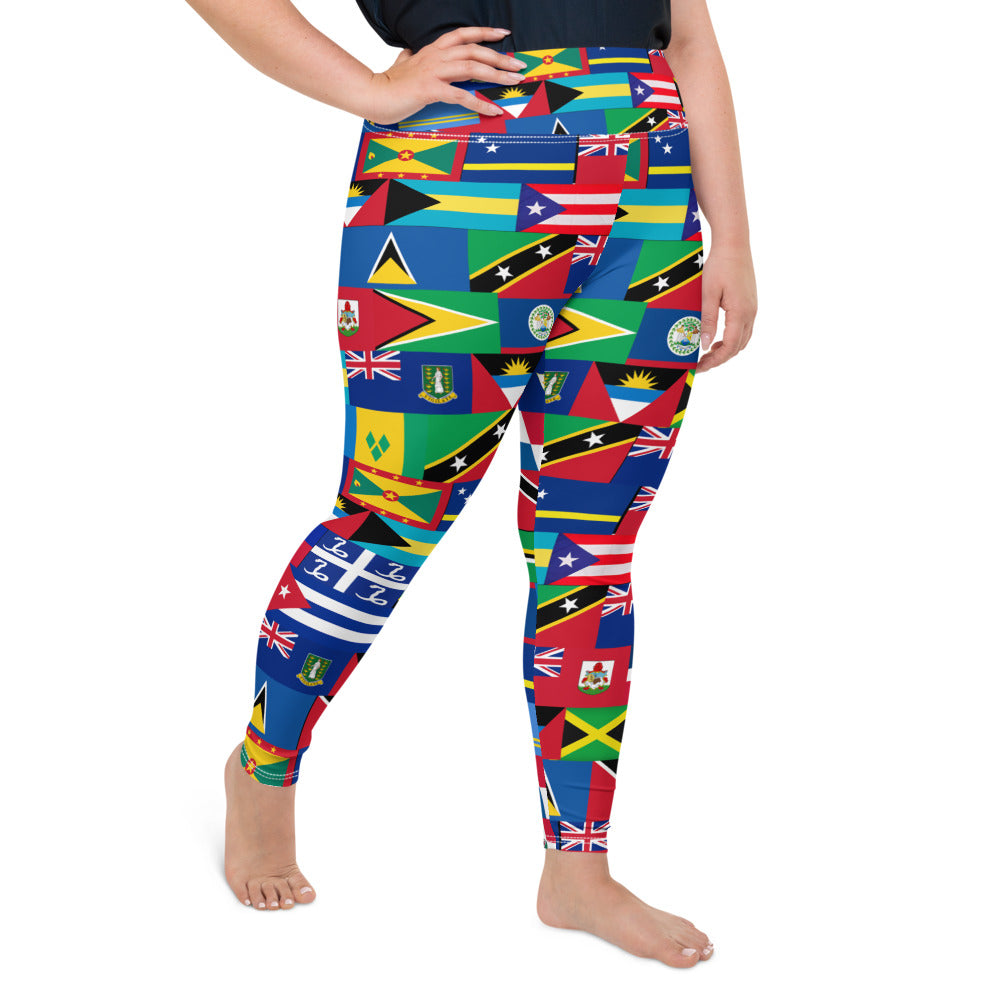 Caribbean ALL Inclusive All-Over Print Plus Size Leggings - Rice & Tees