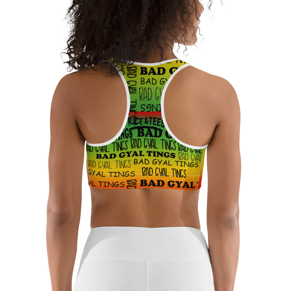 BAD GYAL TINGS ALL OVER Sports bra - Rice & Tees