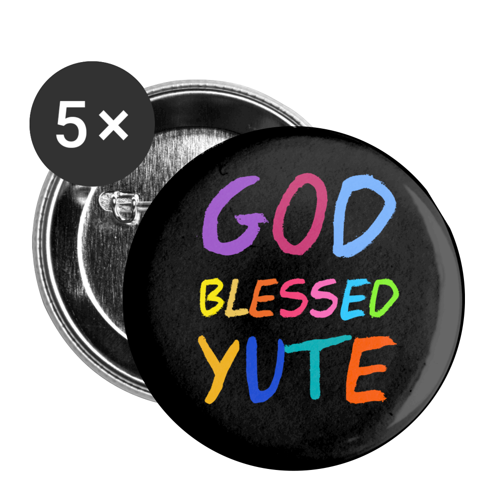 GOD BLESSED YUTE Buttons large 2.2'' (5-pack) - white
