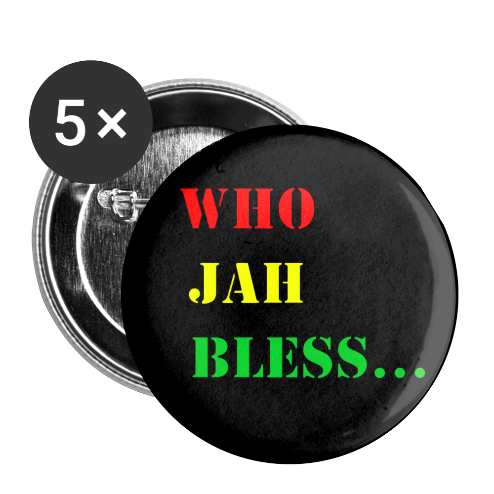 WHO JAH BLESS Buttons large 2.2'' (5-pack) - white