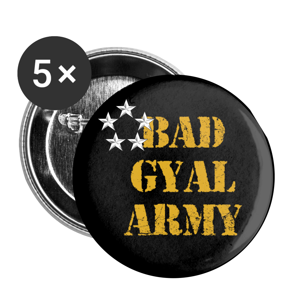 BAD GYAL ARMY Buttons large 2.2'' (5-pack) - white