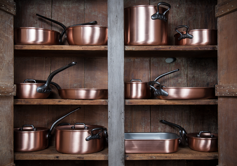 Clean Copper Sauce Pans and pots