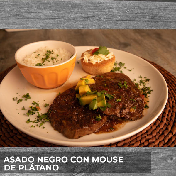 Copy of Asado negro con mouse de plátano y arroz
