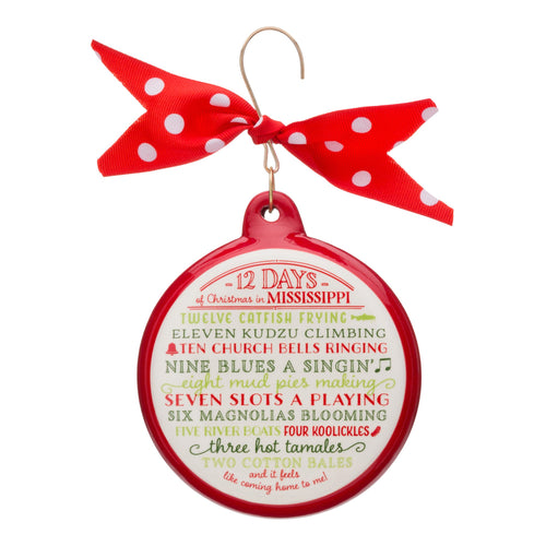 12 Days of Christmas Mississippi Ceramic Ornament