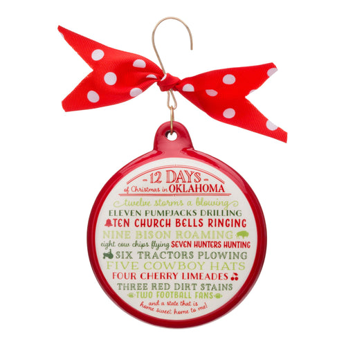 12 Days of Christmas Oklahoma Ceramic Ornament