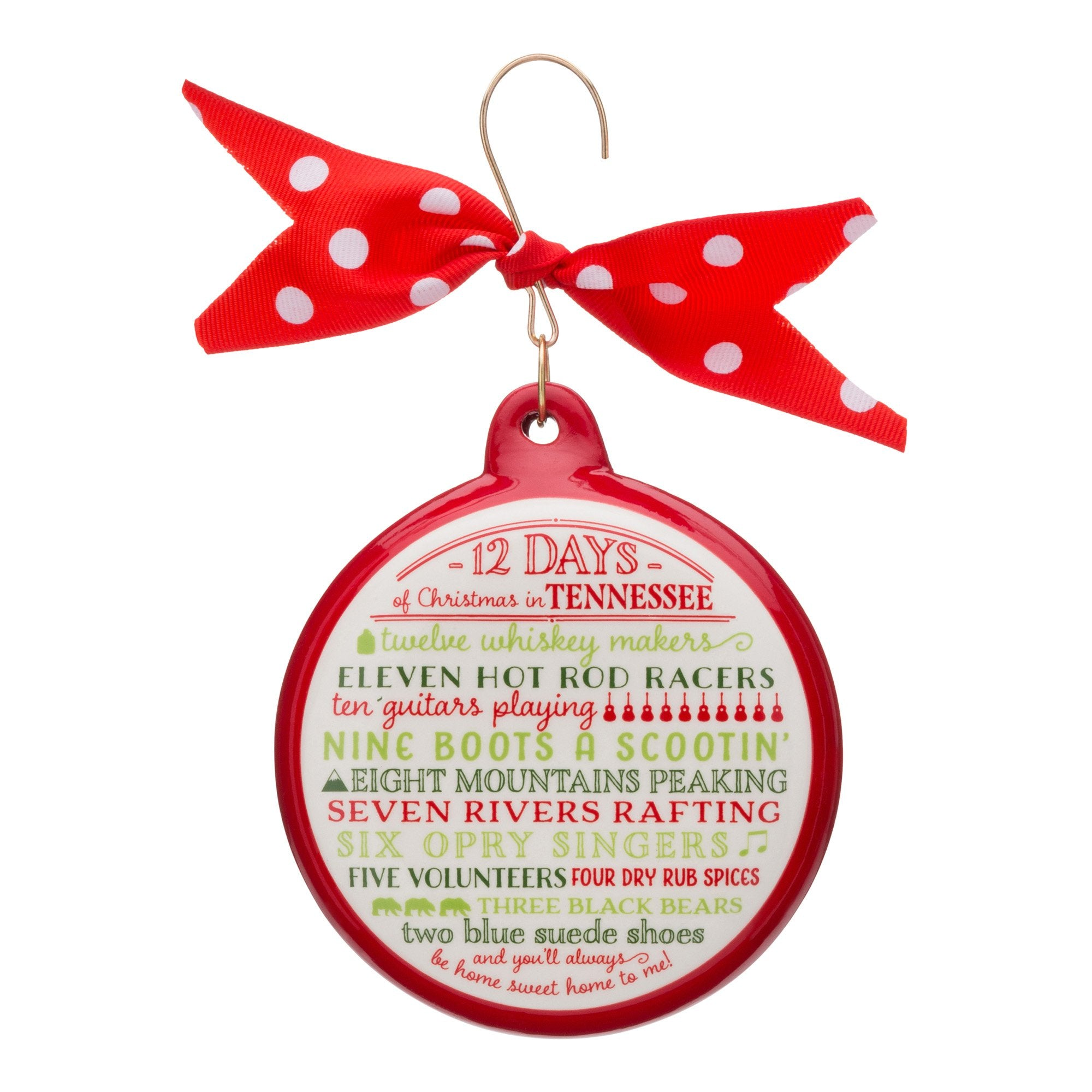 Christmas In Tennessee.12 Days Of Christmas Tennessee Ceramic Ornament
