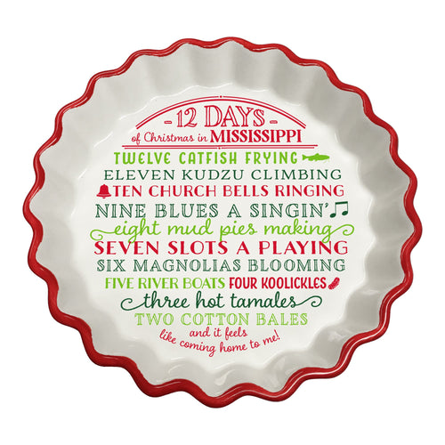 12 Days of Christmas Mississippi Ceramic Tart Dish