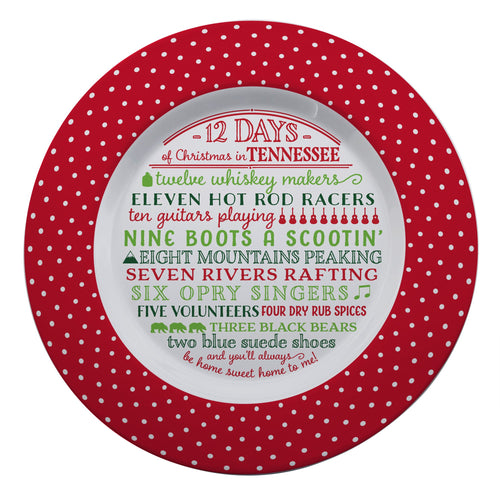 12 Days of Christmas Tennessee Melamine Plate