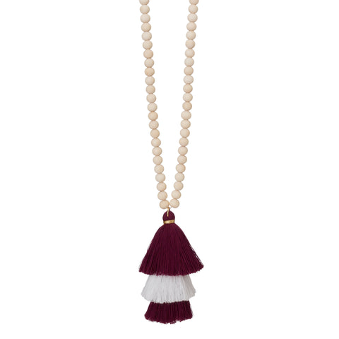 Hexagon Fabric Tassel Necklace