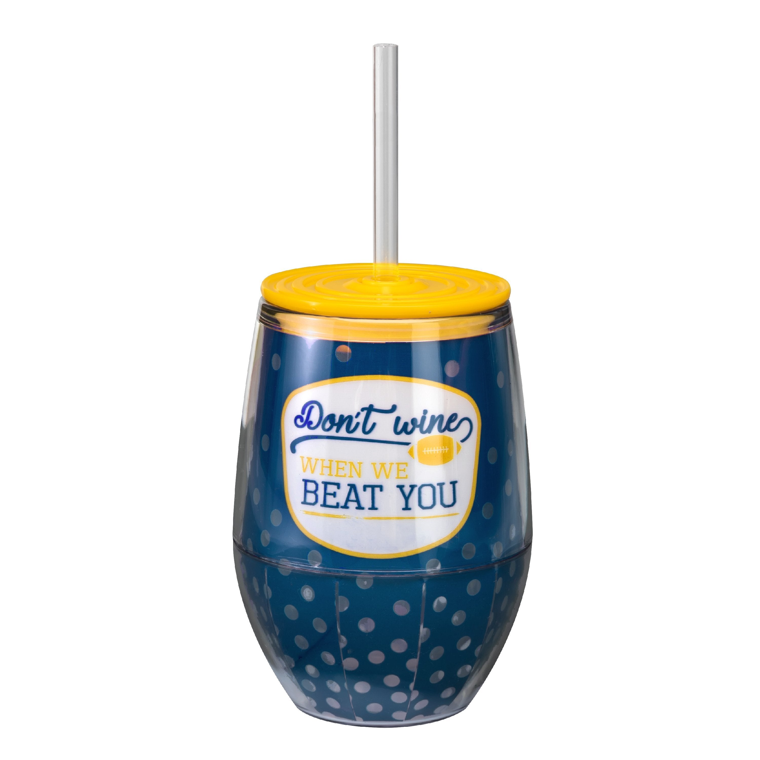 "Navy/Yellow 12oz Acrylic Stemless Wine Cup - ""Don't Wine When We Beat You"""