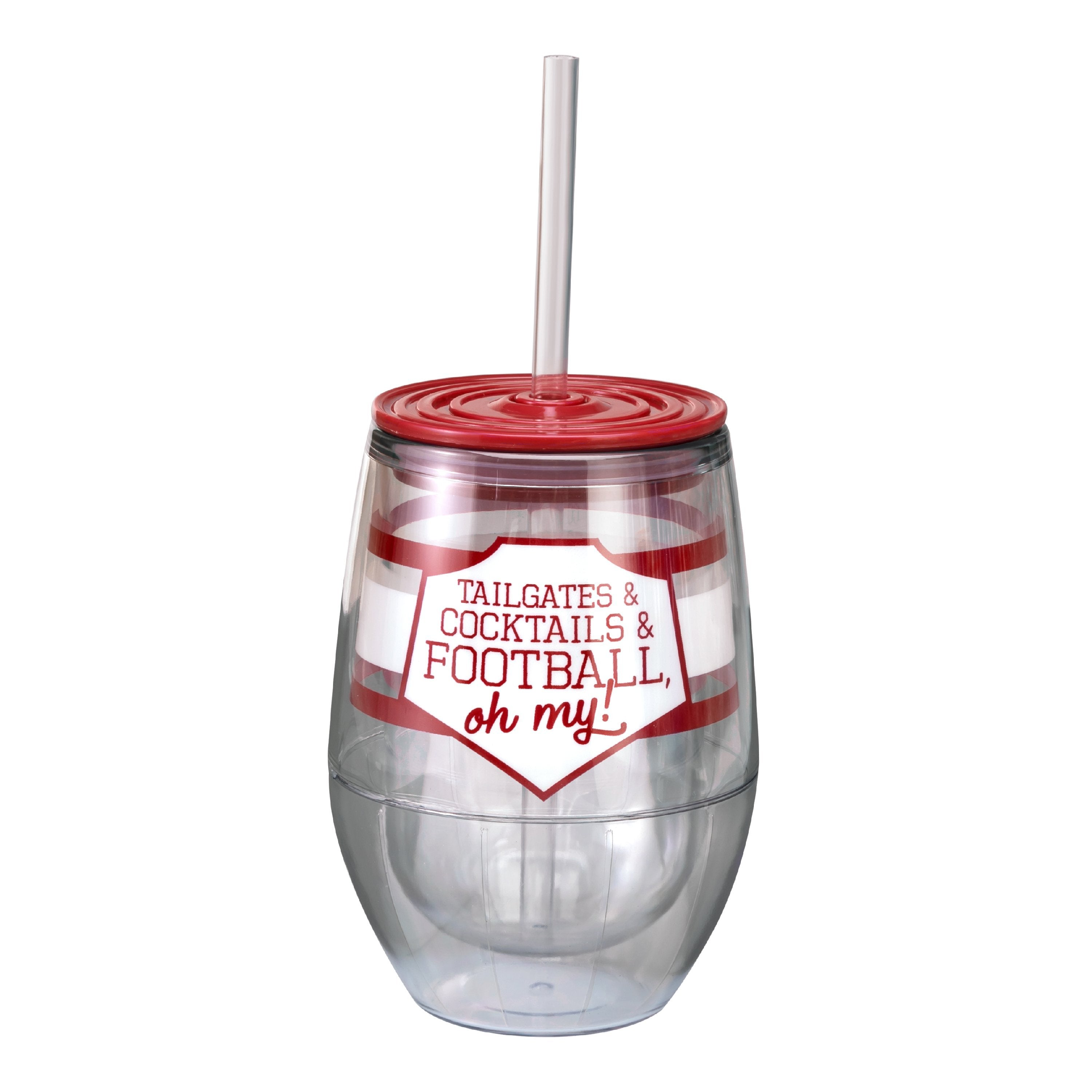 "Crimson/White 12oz Acrylic Stemless Wine Cup - ""Tailgates & Cocktails & Football, Oh My!"""