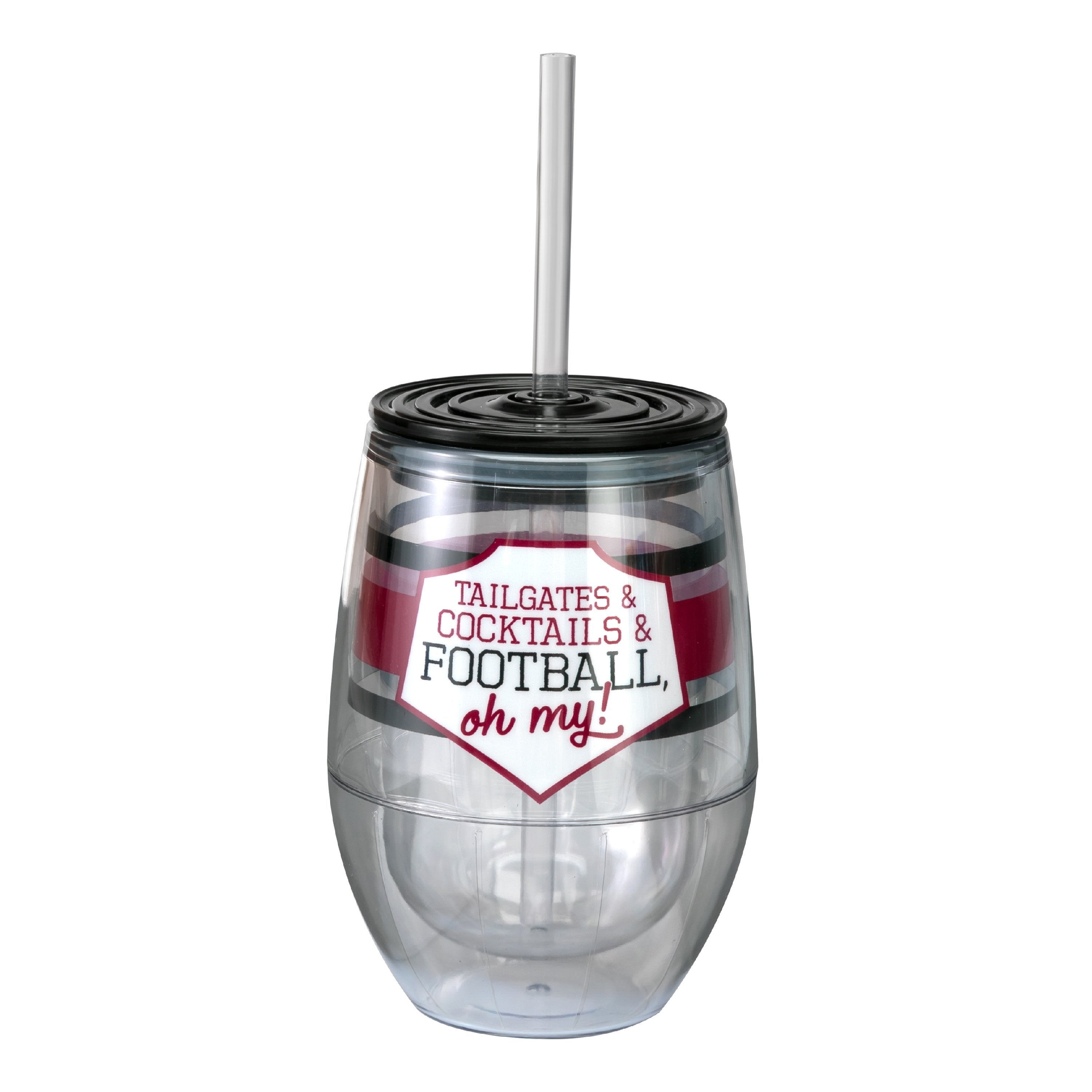 "Maroon/Black 12oz Acrylic Stemless Wine Cup - ""Tailgates & Cocktails & Football, Oh My!"""