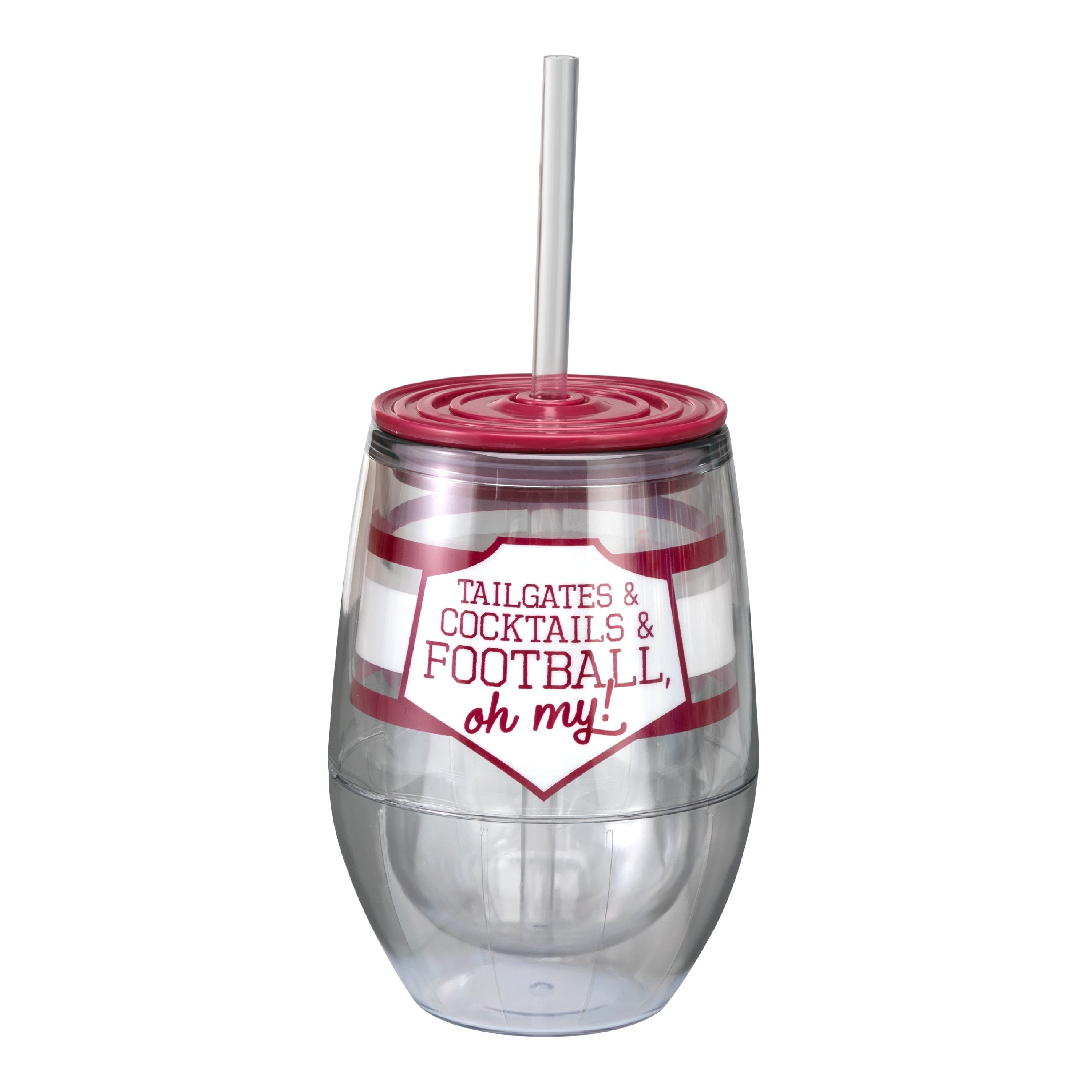 "Maroon/White 12oz Acrylic Stemless Wine Cup - ""Tailgates & Cocktails & Football, Oh My!"""