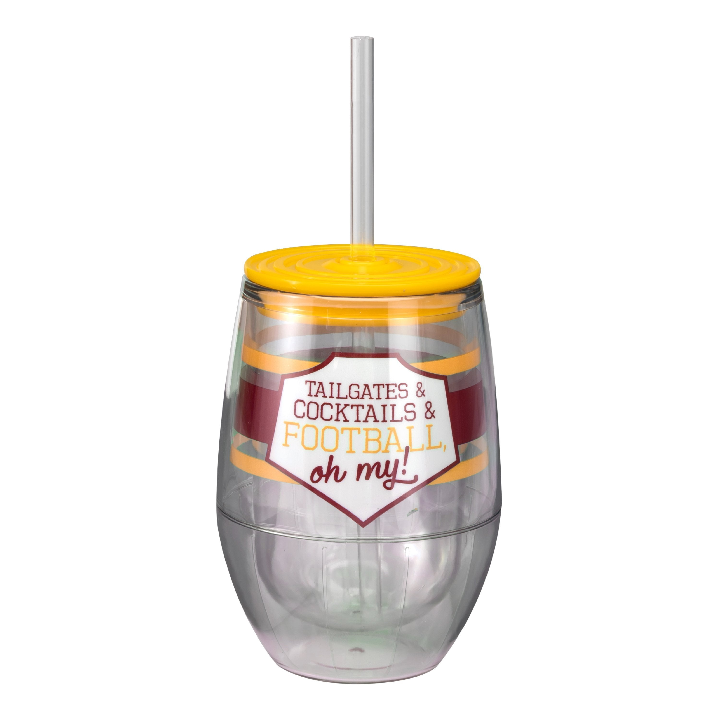 "Maroon/Yellow 12oz Acrylic Stemless Wine Cup - ""Tailgates & Cocktails & Football, Oh My!"""