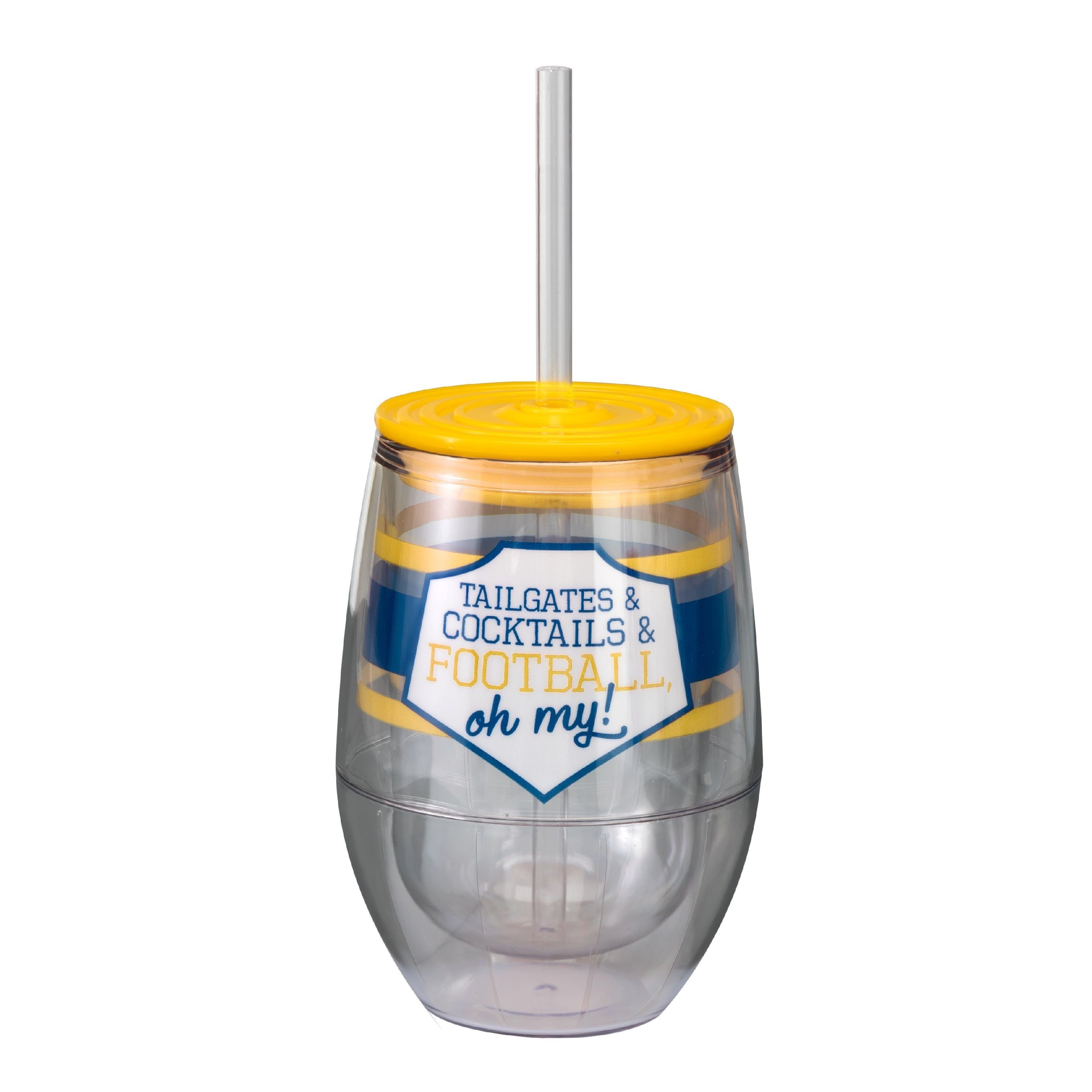 "Navy/Yellow 12oz Acrylic Stemless Wine Cup - ""Tailgates & Cocktails & Football, Oh My!"""