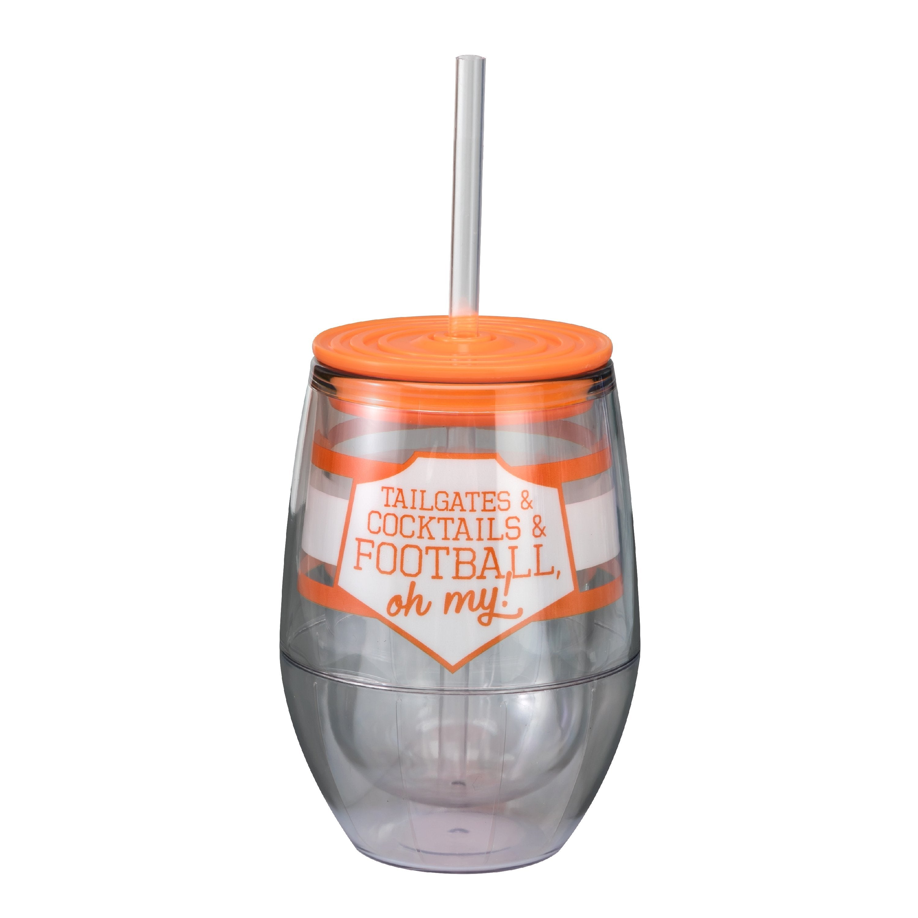 "Orange/White 12oz Acrylic Stemless Wine Cup - ""Tailgates & Cocktails & Football, Oh My!"""
