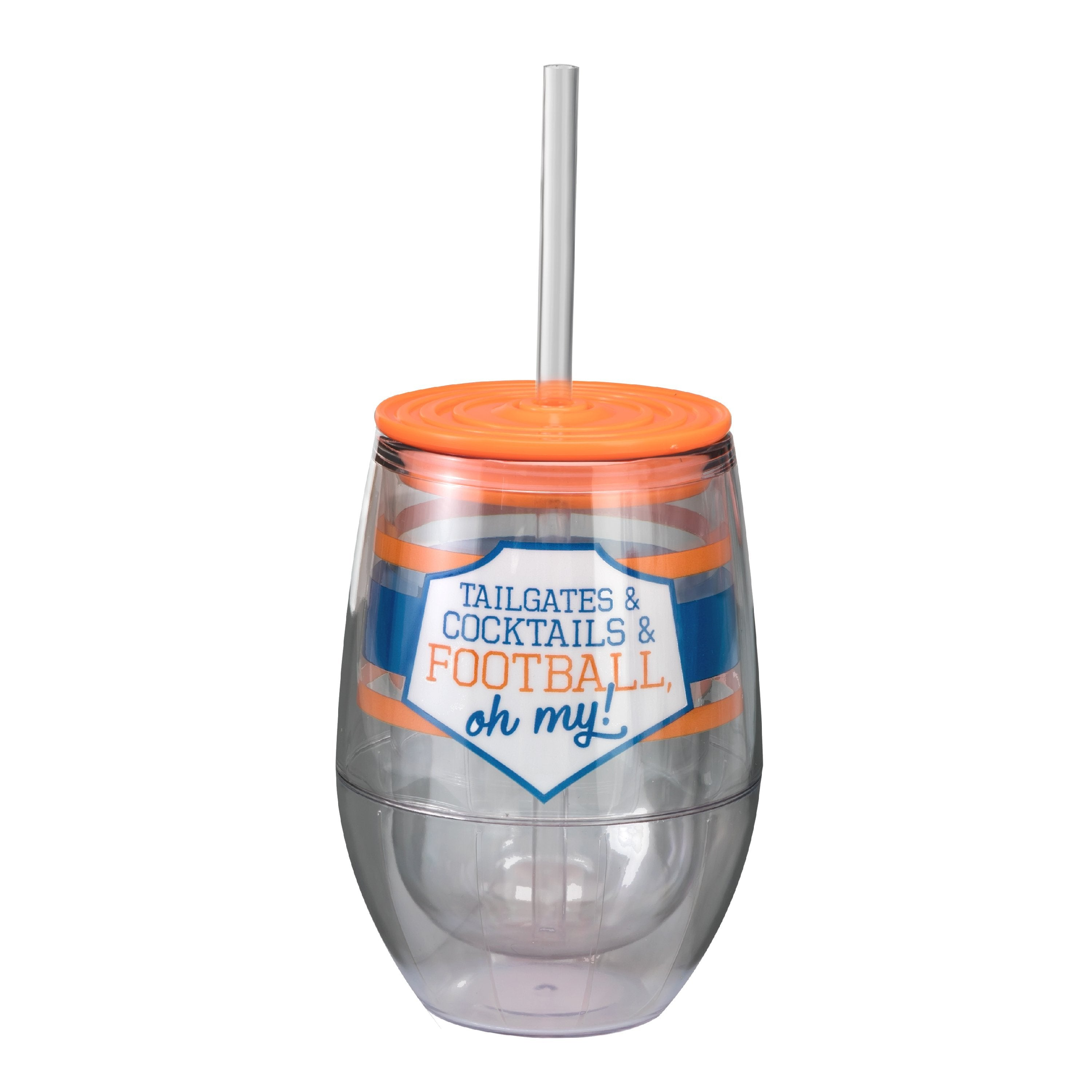 "Royal/Orange 12oz Acrylic Stemless Wine Cup - ""Tailgates & Cocktails & Football, Oh My!"""