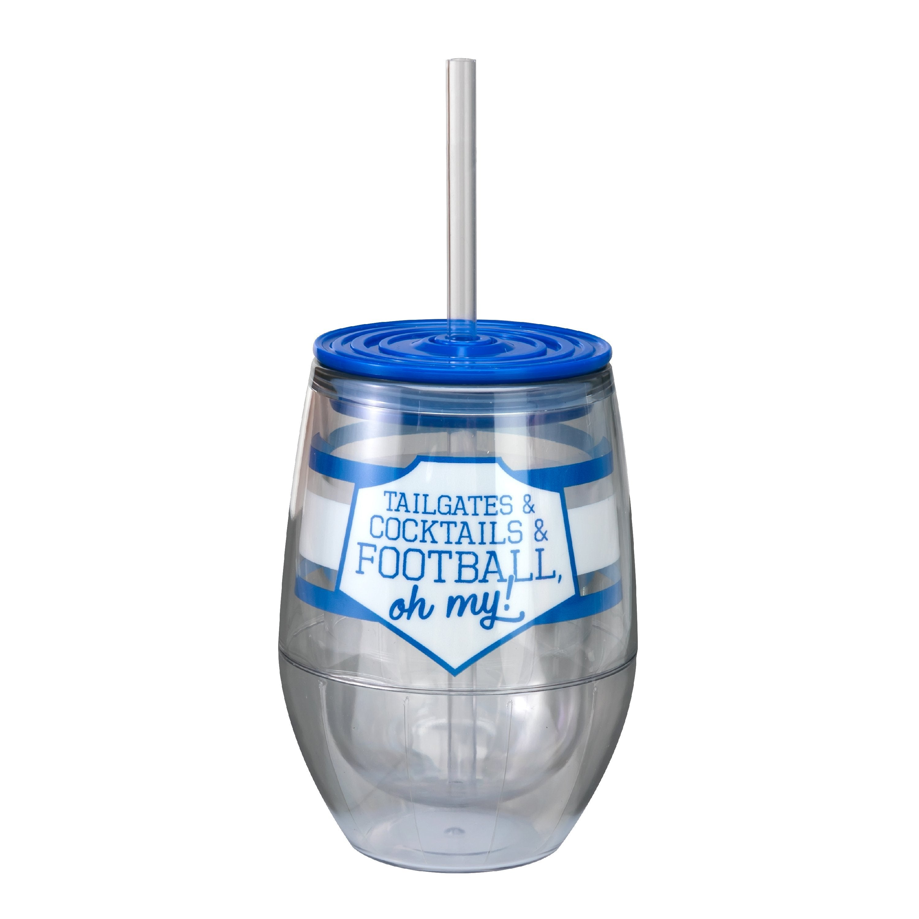 "Royal/White 12oz Acrylic Stemless Wine Cup - ""Tailgates & Cocktails & Football, Oh My!"""