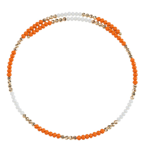 Orange and white beaded wire choker necklace with gold accent beads.