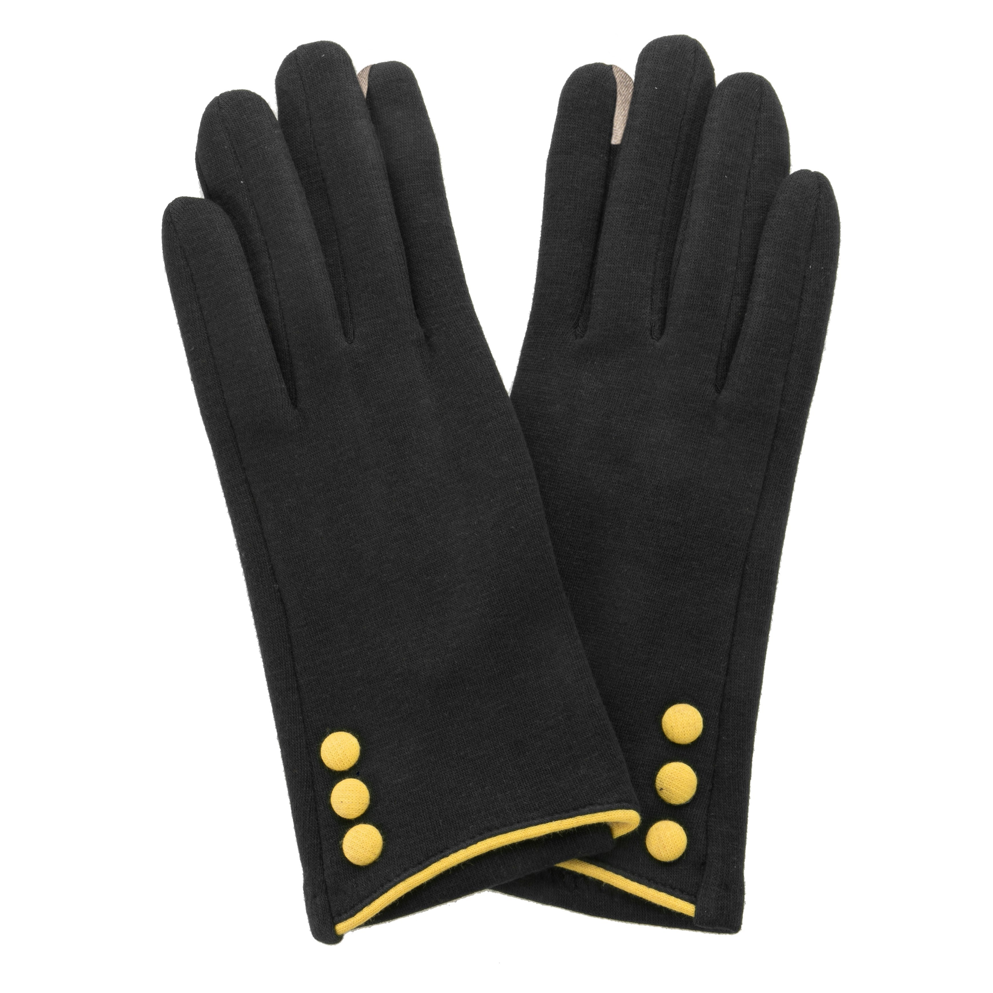 Black, smart screen fingertip gloves with yellow buttons and trim.