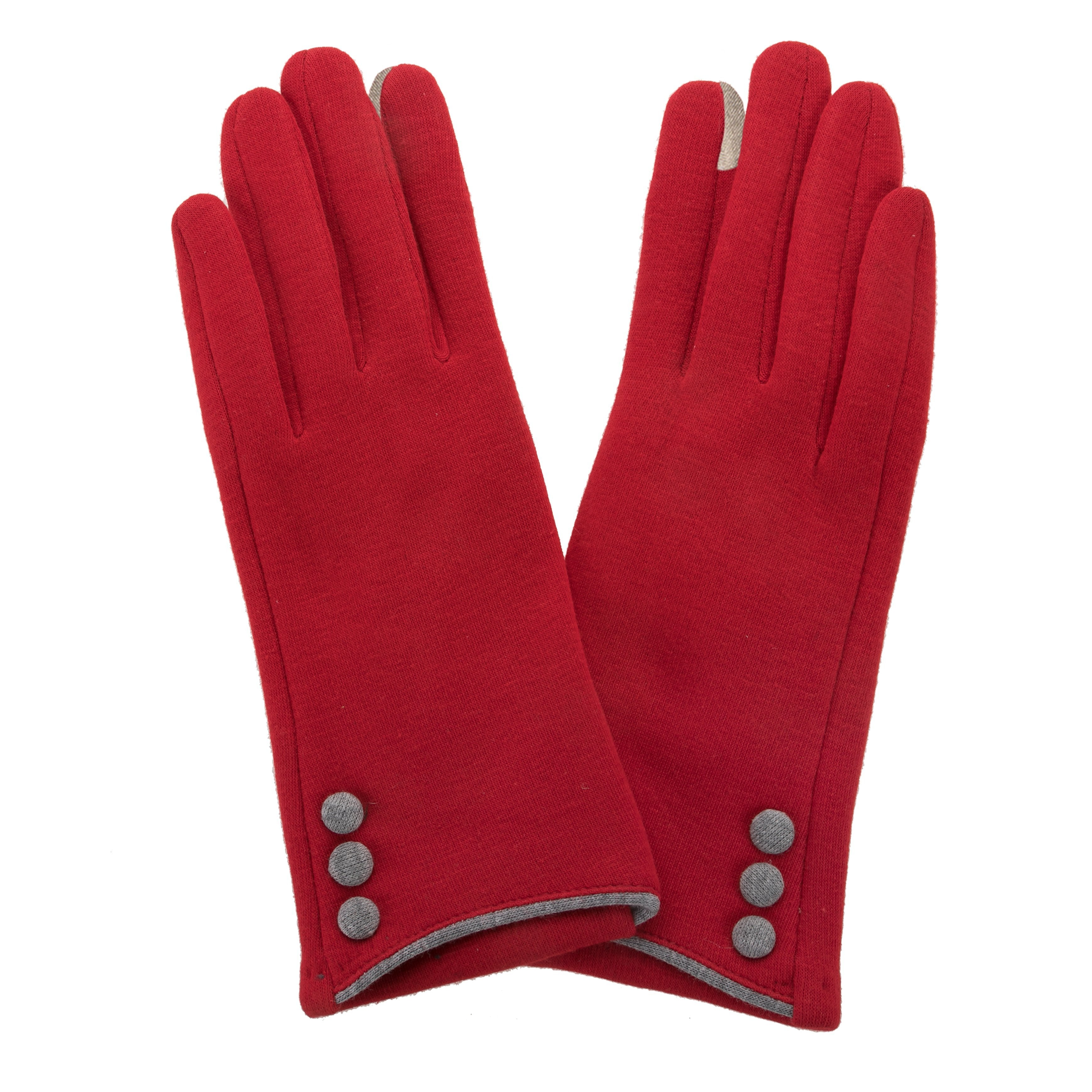 Crimson, smart screen fingertip gloves with grey buttons and trim.