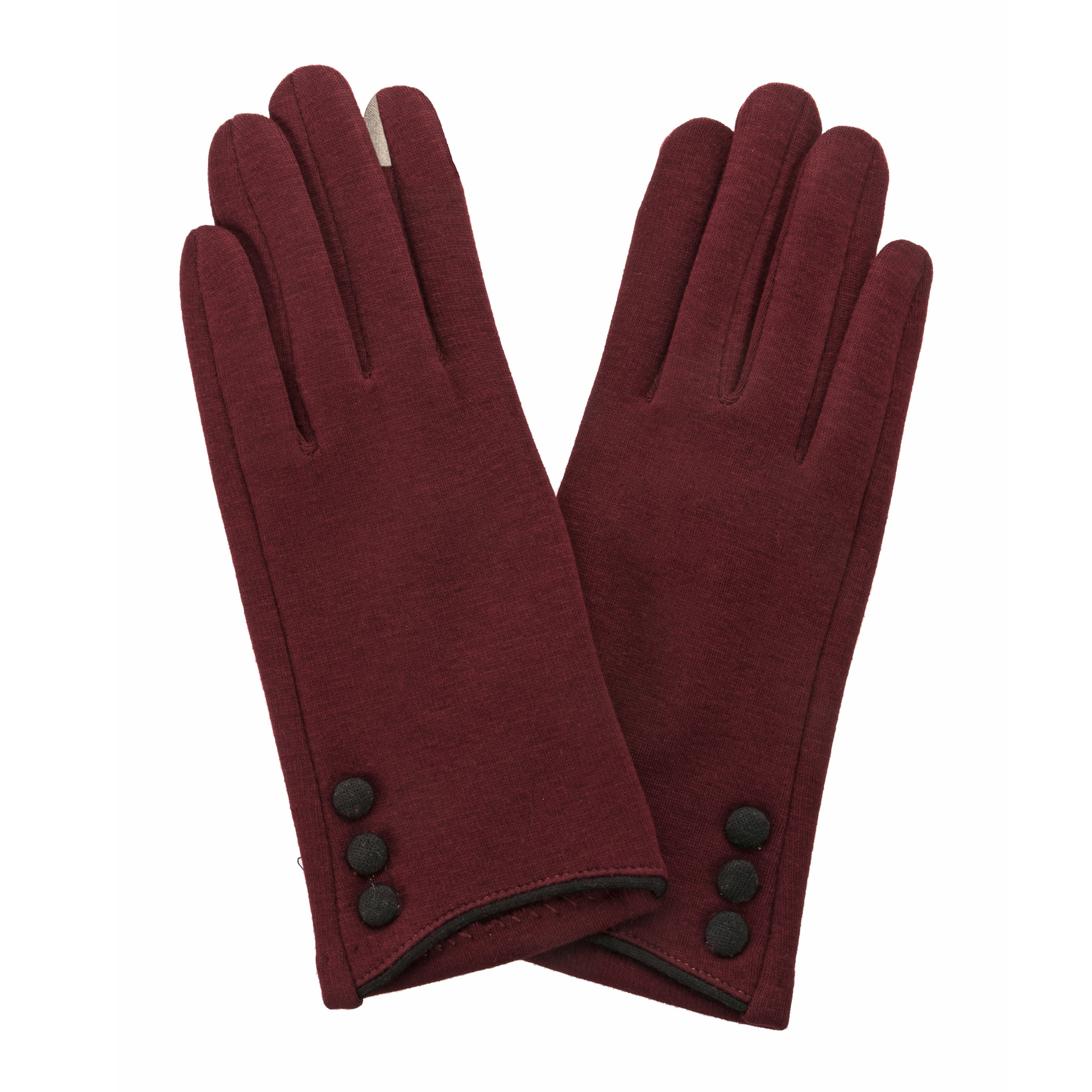 Maroon, smart screen fingertip gloves with black buttons and trim.