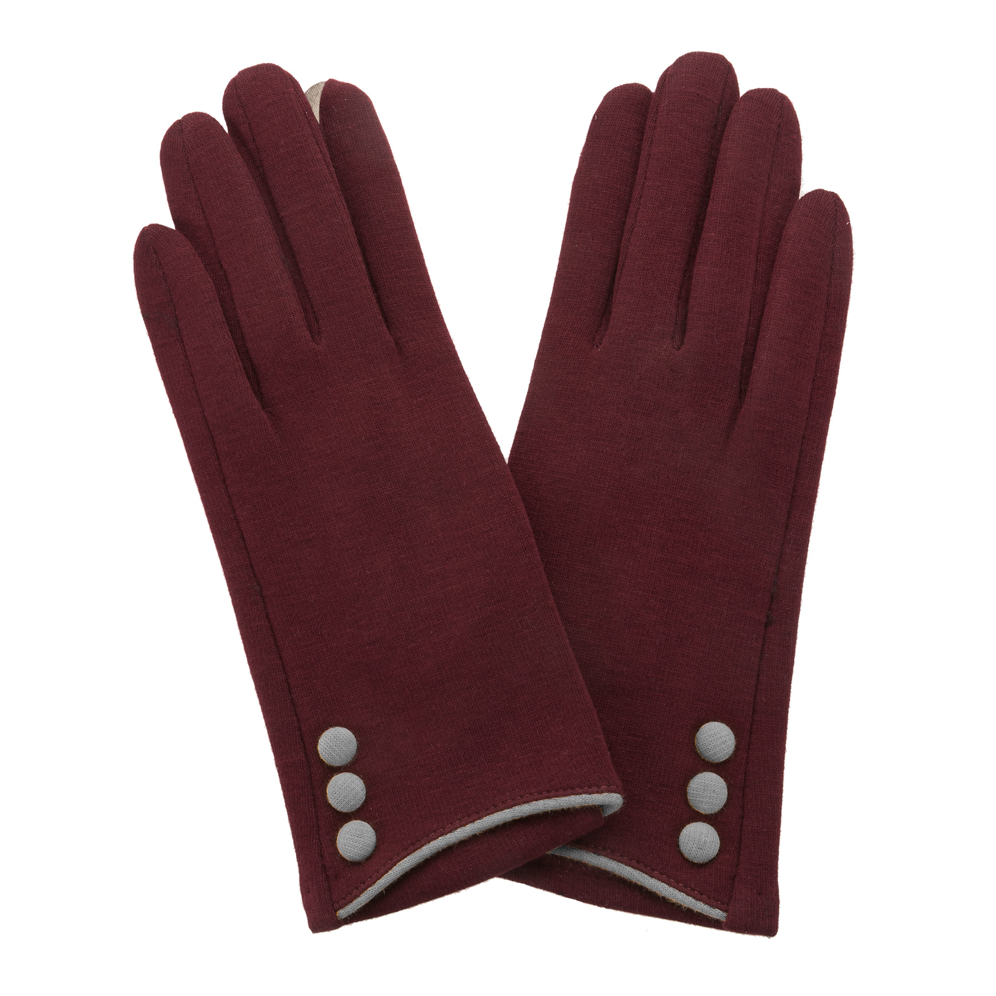 Maroon, smart screen fingertip gloves with grey buttons and trim.
