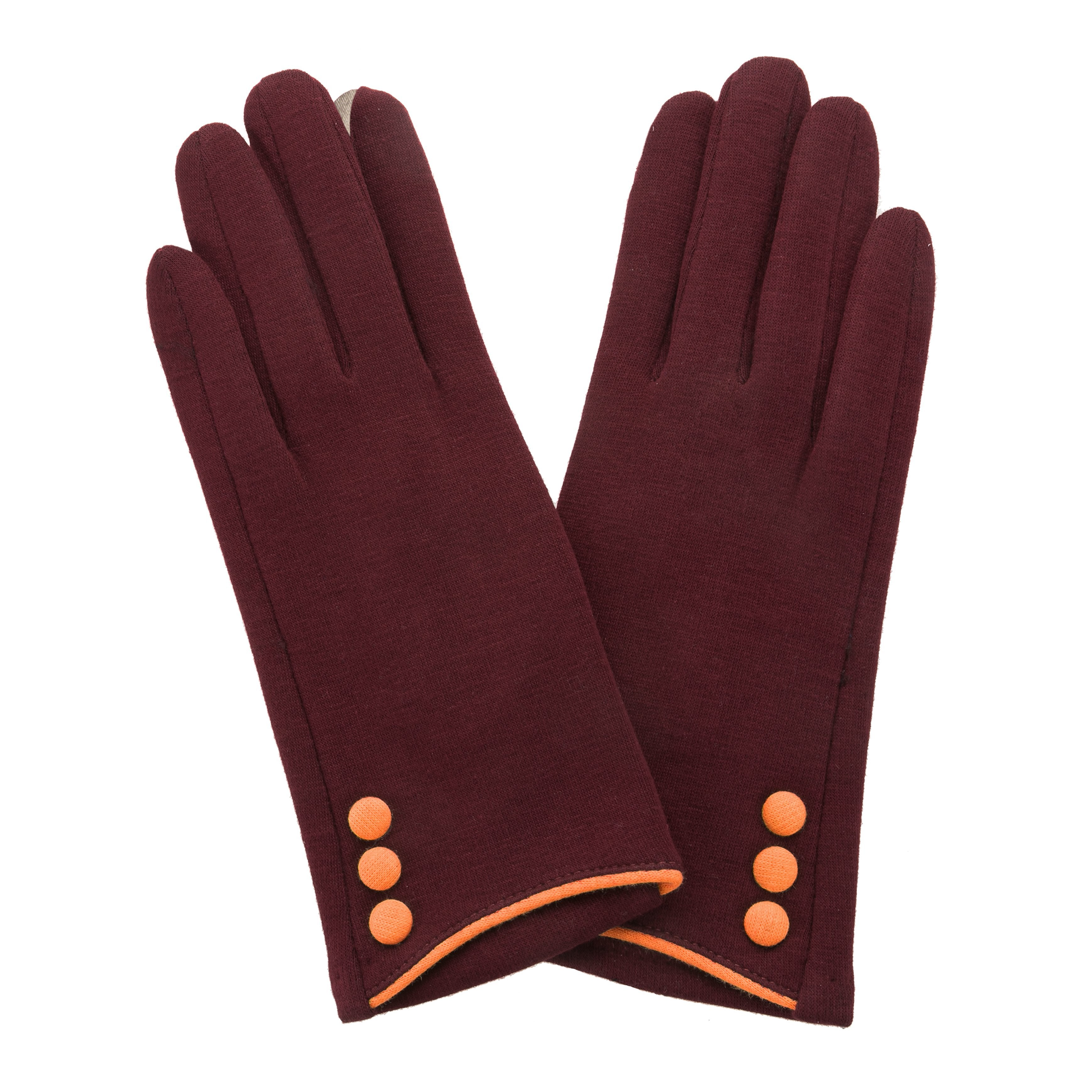 Maroon, smart screen fingertip gloves with orange buttons and trim.
