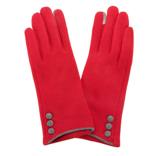 Red, smart screen fingertip gloves with grey buttons and trim.