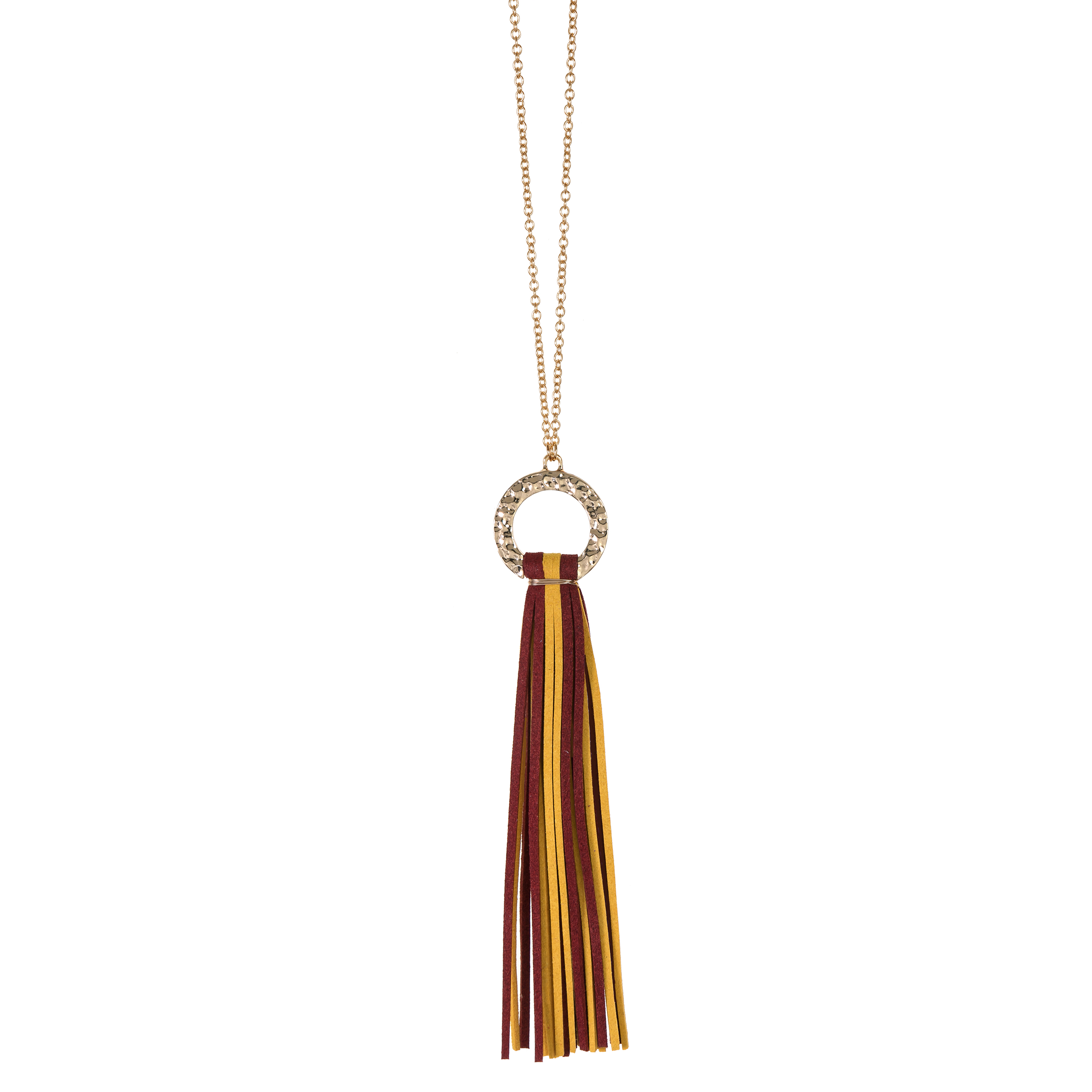 Maroon and Yellow suede tassel necklace with gold hammered hoop and nickel free