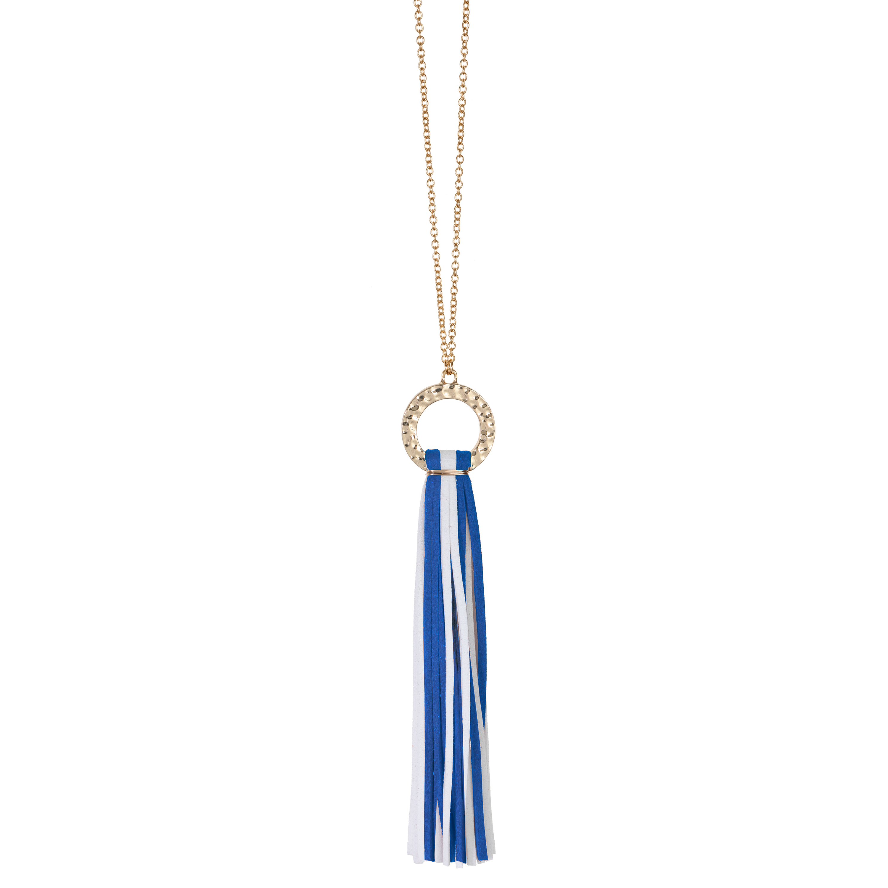 Royal Blue and White suede tassel necklace with gold hammered hoop and nickel free
