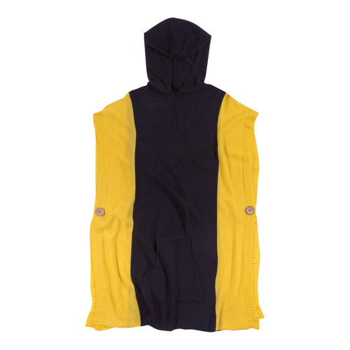 Black and yellow hooded poncho with a front pocket, one size fits most.