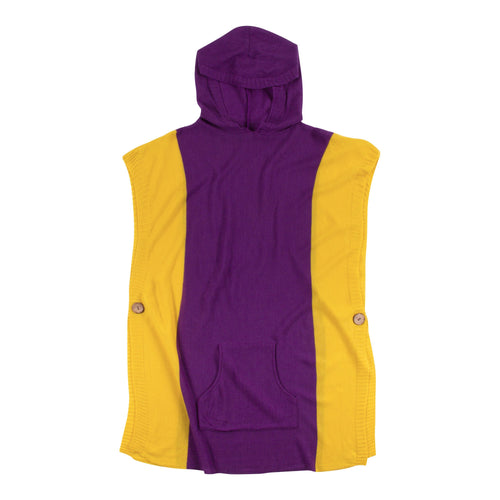 Purple and yellow hooded poncho with a front pocket, one size fits most.