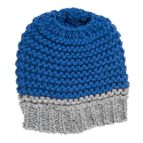 Royal Blue and grey knitted bun hat.