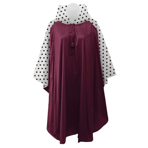 Maroon rain poncho with frosted sleeves and hood embellished with black polka dots, comes with small carrying pouch.