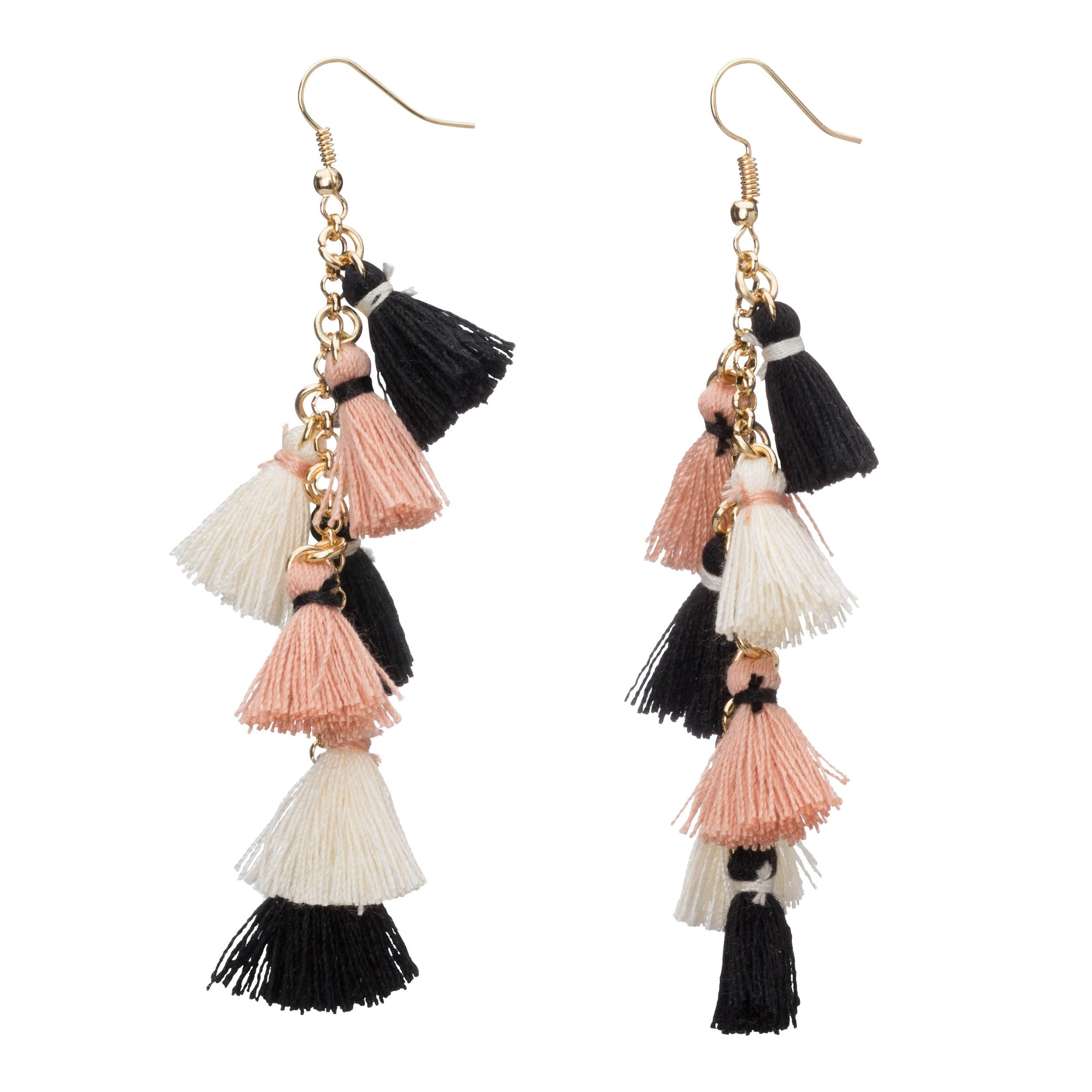 earrings product tassle in lyst jewelry oscar de bright la tassel long normal blue renta navy gallery