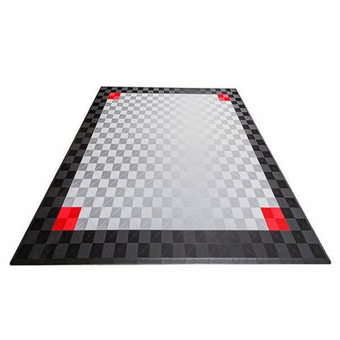 Swisstrax Ribtrax Two Car Garage Mat Parking Mat Gray with Black Border & Red Accents Front View