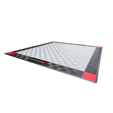 Swisstrax Dodge Two Car Garage Mat Black, Gray and Red Corners