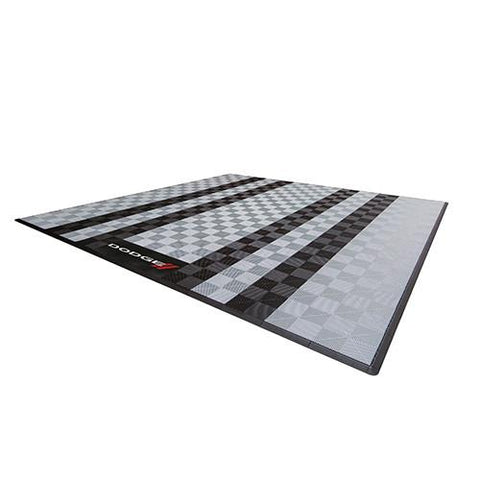 Swisstrax Dodge Two Car Garage Mat Grey and Black Stripes