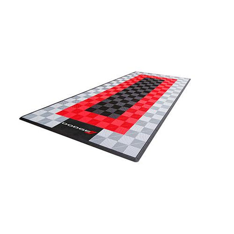 Swisstrax Dodge Single Garage Mat & Parking Mat Black Red Gray