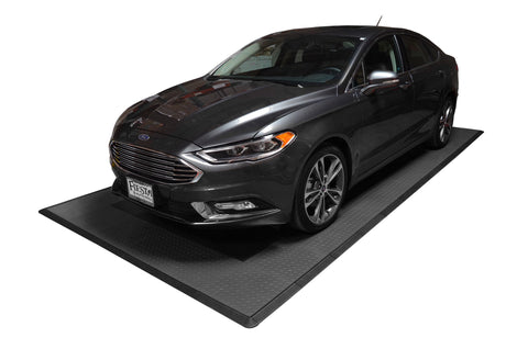 Car Parked on a Diamond Plate Single Car Garage Mat