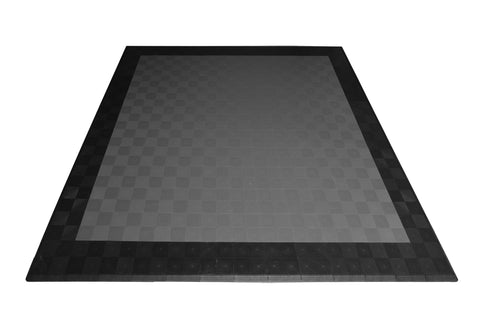 Drain-thru Two Car Garage Mat Parking Mat Gray with Black Border