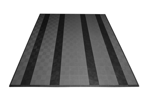 Drain-thru Two Car Garage Mat Parking Mat Gray with Black Stripes front view