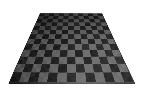 Drain-thru Two Car Garage Mat Parking Mat Black and Gray Checkered front view