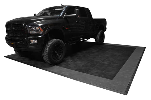 Ram Parked On Drain-thru Two Car Garage Mat Parking Mat