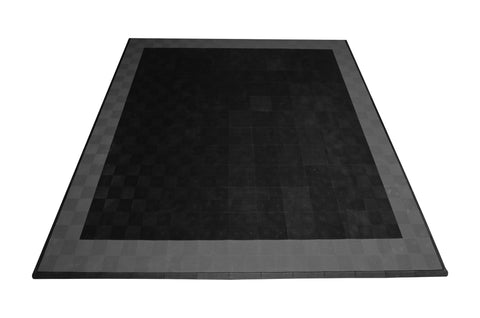 Drain-thru Two Car Garage Mat Parking Mat Black with Gray Border front view