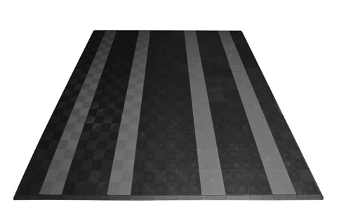 Drain-thru Two Car Garage Mat Parking Mat Black with Gray Stripes front view