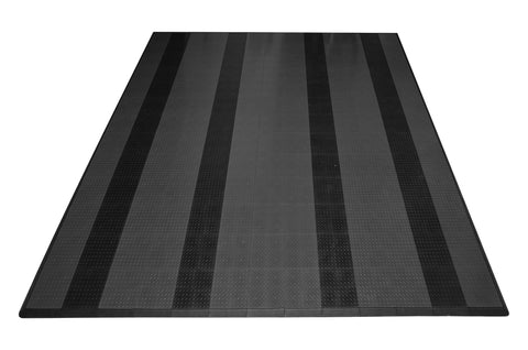 Two Car Diamond Plate Garage Mat Parking Mat grey with black stripes front view