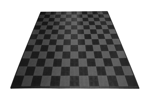 Two Car Diamond Plate Garage Mat Parking Mat grey and black checkered front view